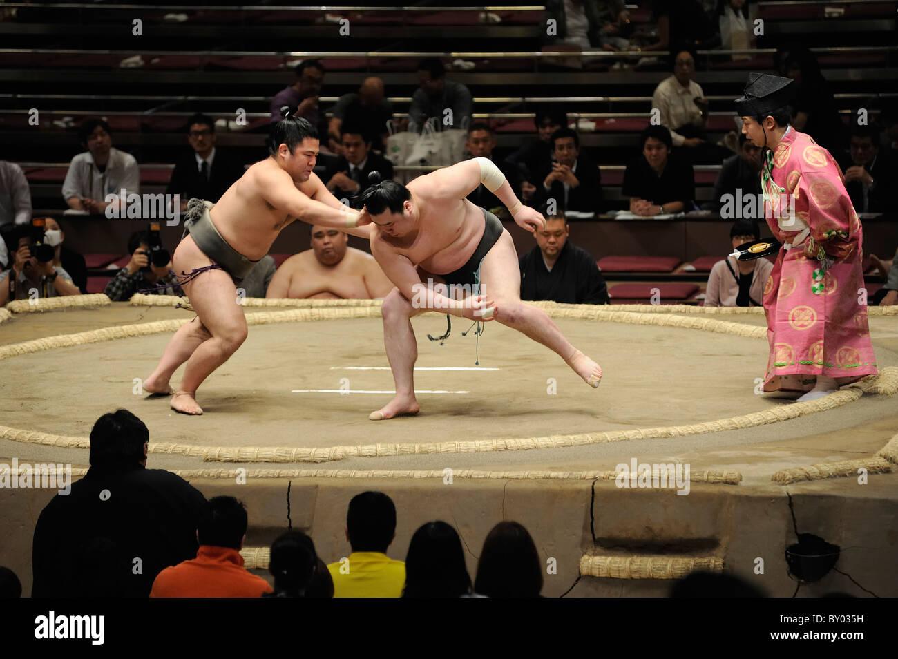 Lottatore di Sumo spingendo avversario durante bout, Grandi Campionati di Sumo maggio 2010, Ryogoku Kokugikan, Tokyo, Immagini Stock