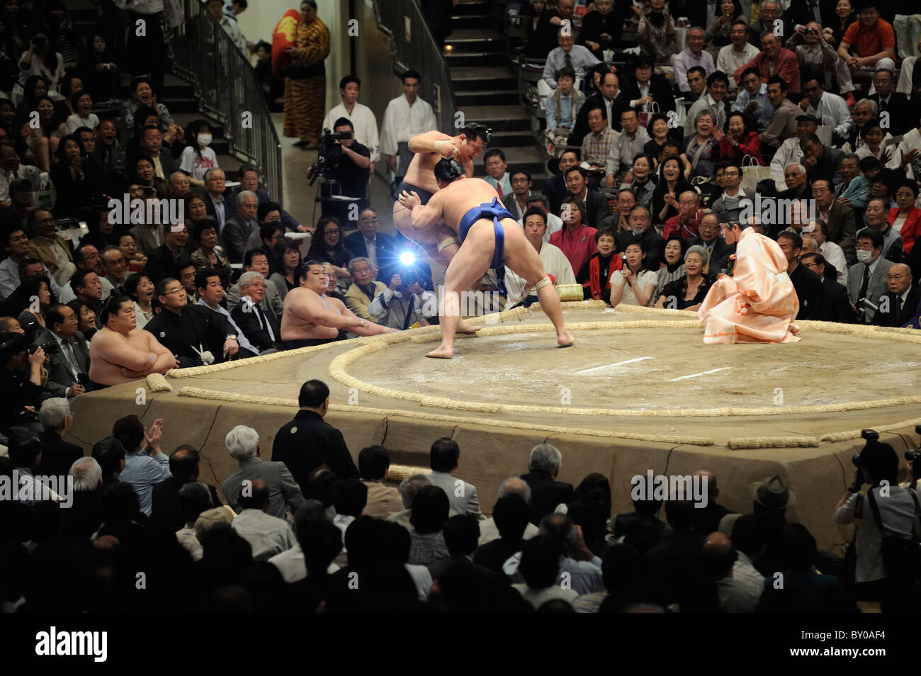 Lottatore di Sumo spingendo avversario fuori dell'anello, Grandi Campionati di Sumo maggio 2010, Ryogoku Kokugikan, Immagini Stock