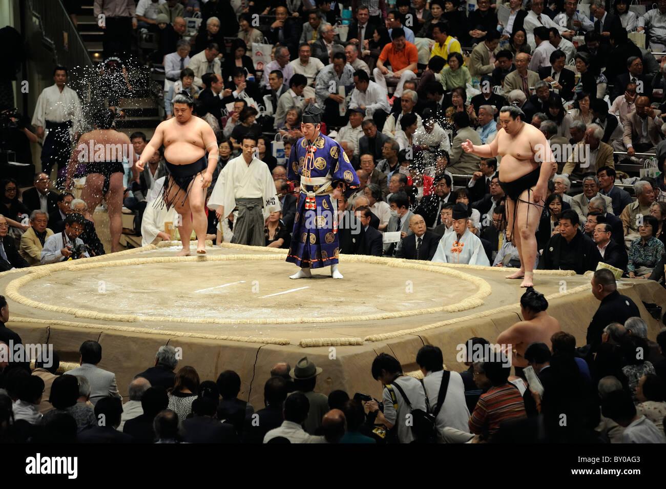 Lottatori di Sumo sale di proiezione nell'anello, Grandi Campionati di Sumo maggio 2010, Ryogoku Kokugikan, Immagini Stock