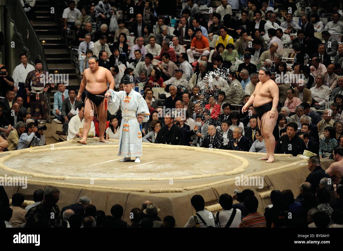 Lottatore di Sumo sale di proiezione nell'anello, Grandi Campionati di Sumo maggio 2010, Ryogoku Kokugikan, Immagini Stock