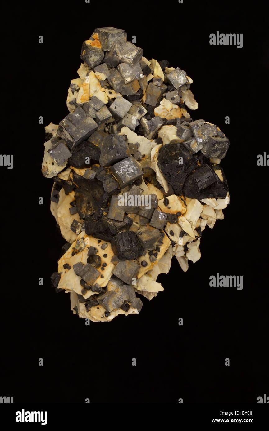 La Galena (PbS - solfuro di piombo) - Tri membro District - Joplin Missouri - USA - Il principale minerale del piombo Immagini Stock