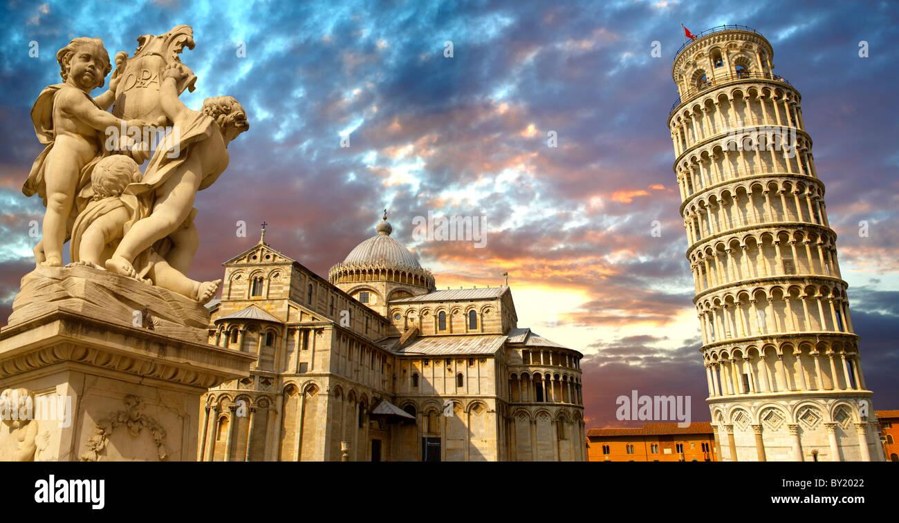Torre pendente di Pisa - un sito Patrimonio Mondiale dell'UNESCO, Piazza dei Miracoli , Pisa, Italia Immagini Stock
