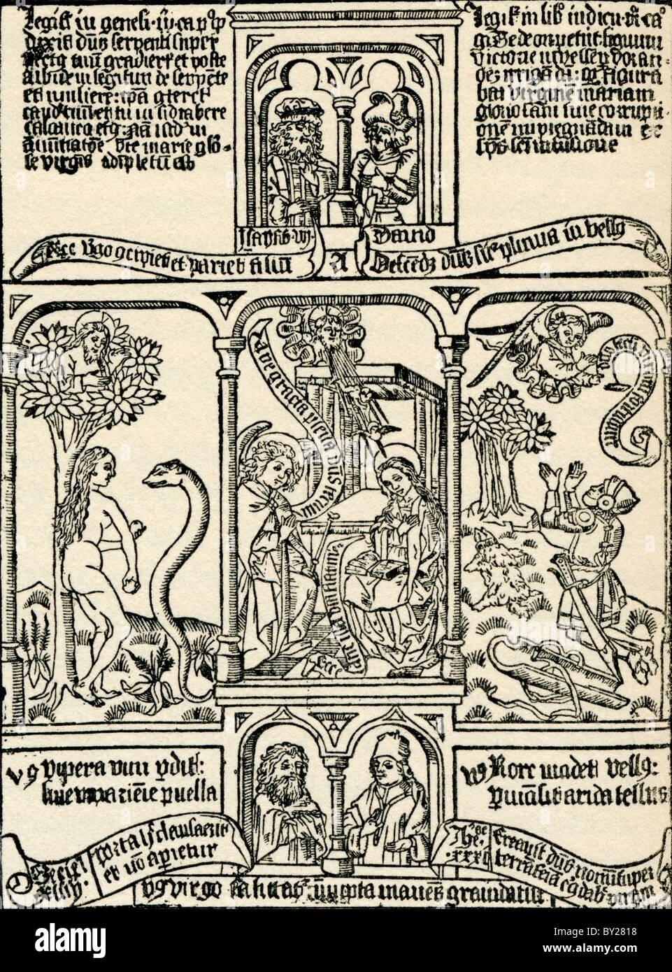 Le illustrazioni bibliche. Da Geschiedenis van Nederland, pubblicato nel 1936. Immagini Stock