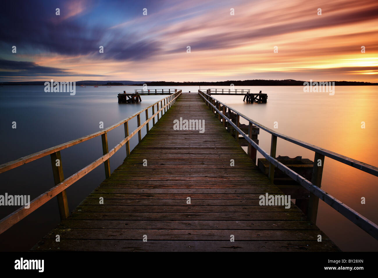 Molo del lago Immagini Stock