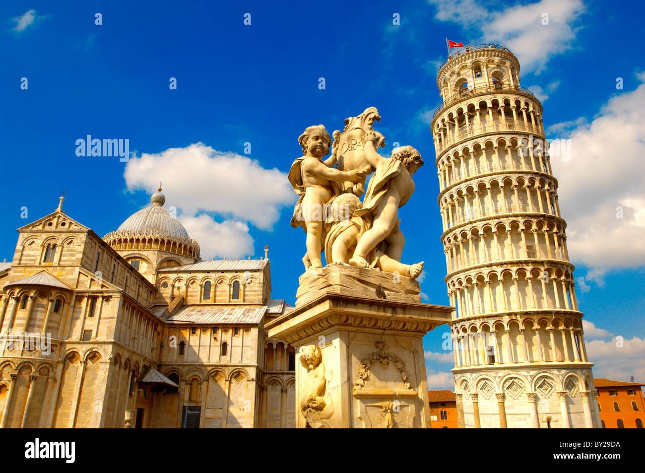 Catherderal e la Torre di Pisa - Piazza dei Miracoli - Pisa - Italia Immagini Stock