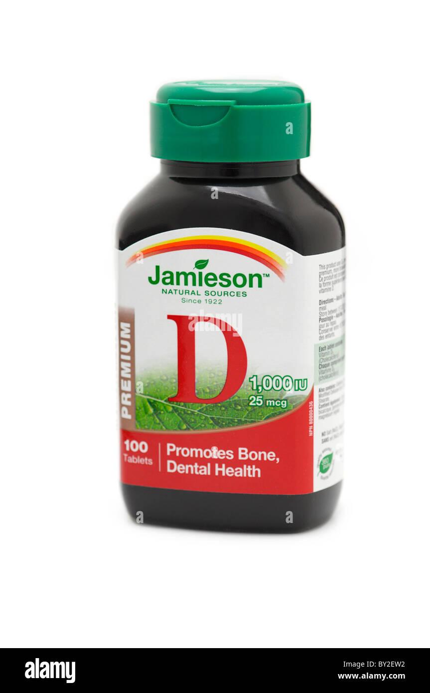 Bottiglia di vitamina D compresse Immagini Stock