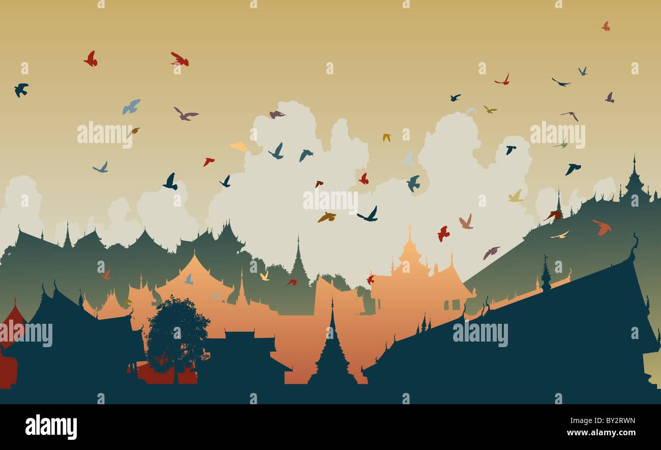 Illustrazione colorata di uccelli su un generico oriente città asiatiche Foto Stock
