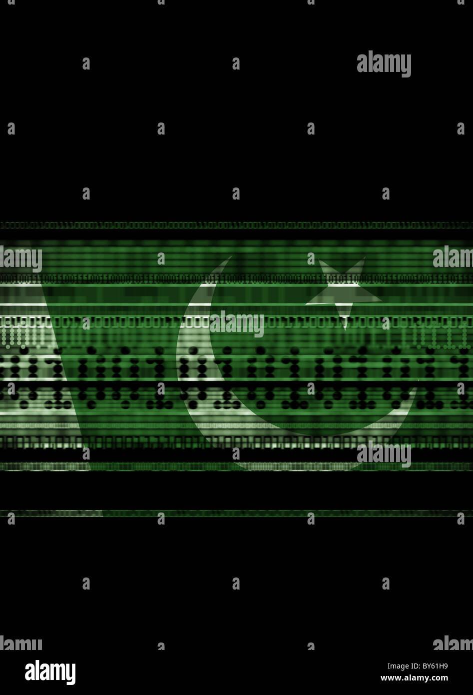 Il Pakistan bandiera miscelati con i flussi di dati che rappresenta i dati e il terrorismo, la sicurezza nazionale, Immagini Stock