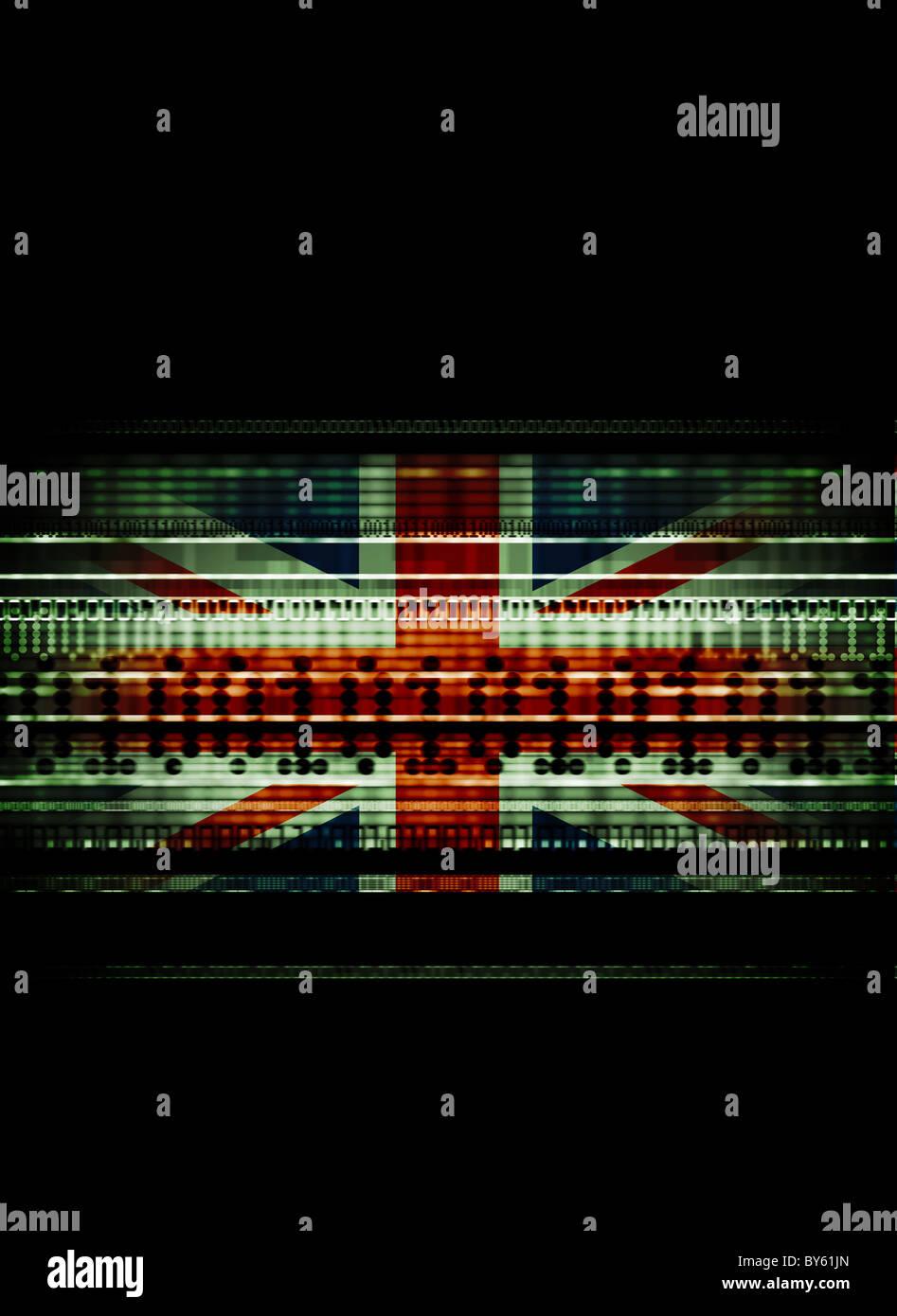 Britannica Union Jack miscelato con i flussi di dati che rappresenta i dati di utilizzo, la criminalità informatica, Immagini Stock