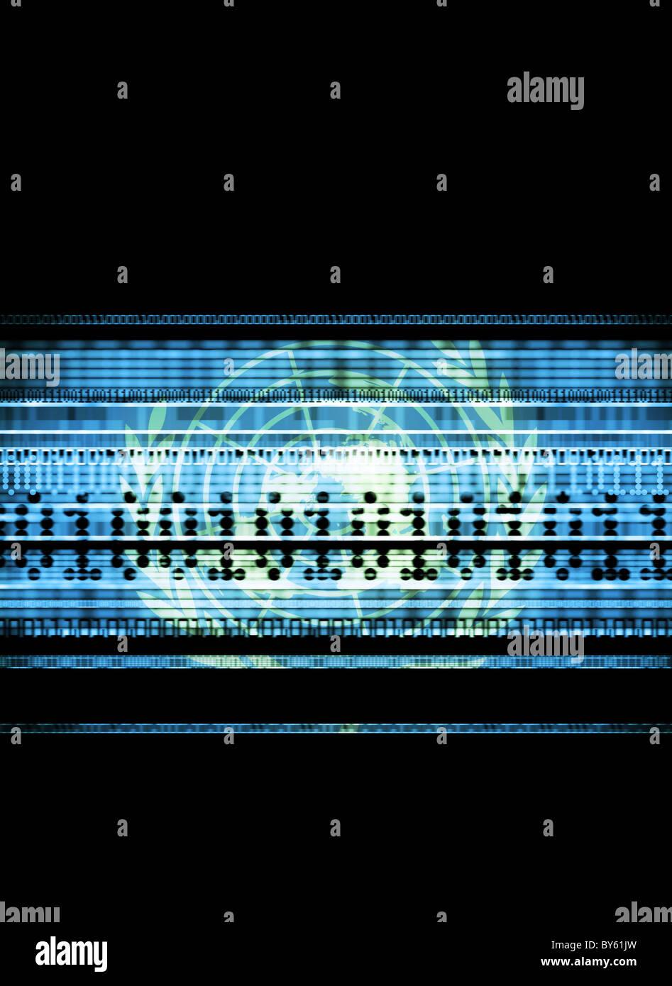 Bandiera delle Nazioni Unite con i flussi di dati che rappresentano la sicurezza nazionale, terrorismo e information Immagini Stock