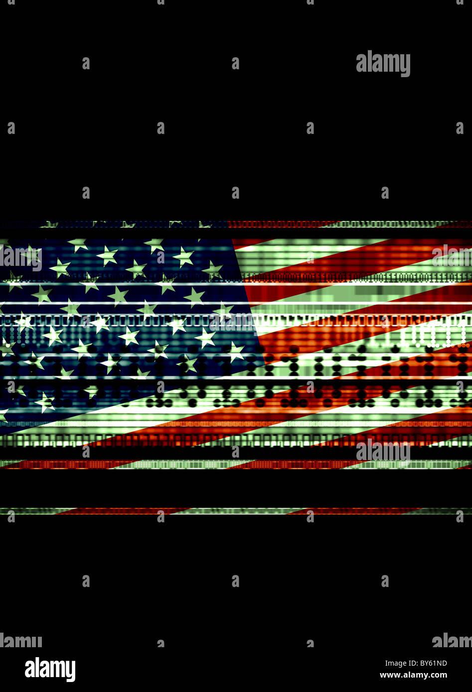 Noi bandiera con flussi di dati che illustra l'utilizzo dei dati,la sicurezza nazionale, il terrorismo Immagini Stock