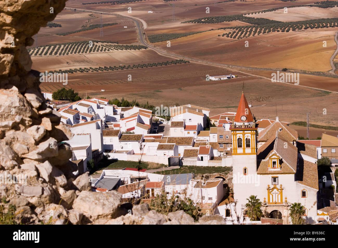 Vista di Teba Andalusia Spagna dal castello Immagini Stock