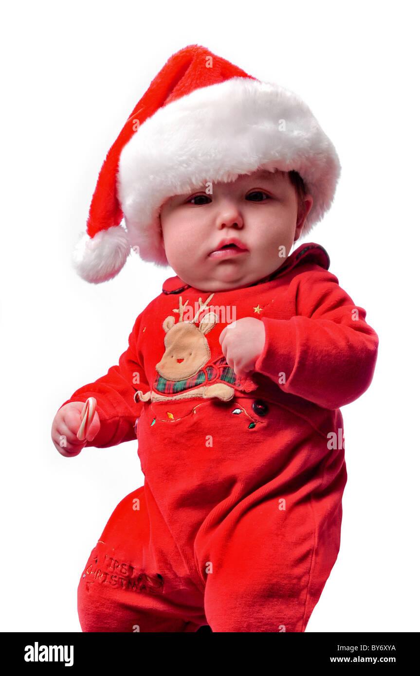 Bambino vestito in santa tuta di natale Foto   Immagine Stock ... dde58eb7922