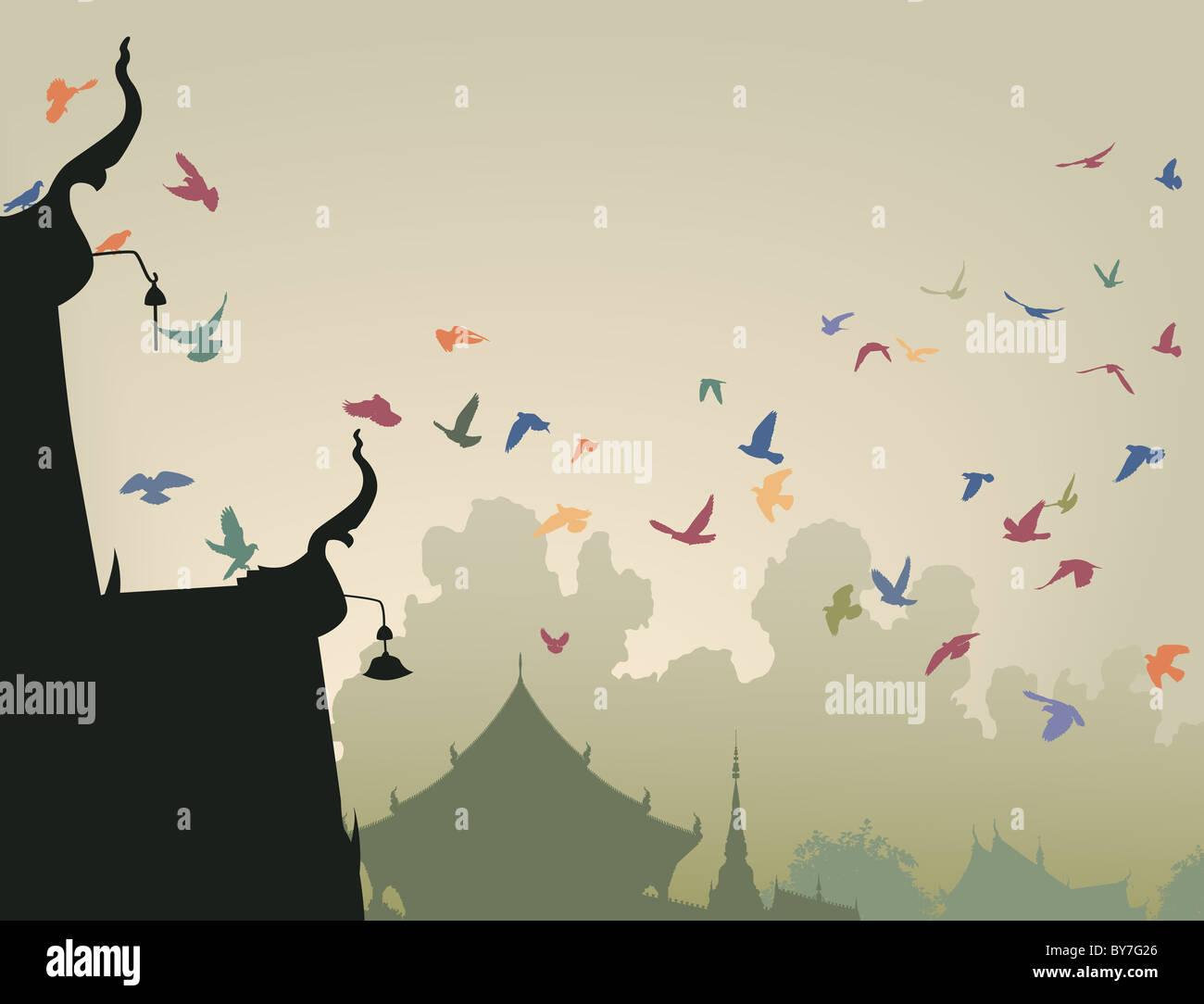 Illustrazione di coloratissimi piccioni in volo per un tempio buddista tetto Foto Stock