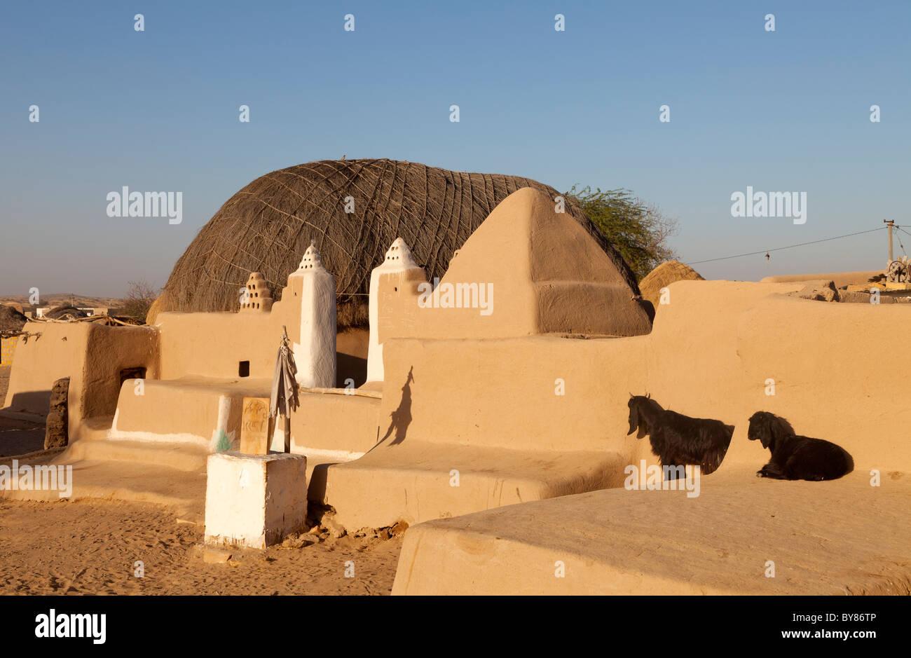 India Rajasthan, deserto di Thar, deserto tradizionale home Immagini Stock