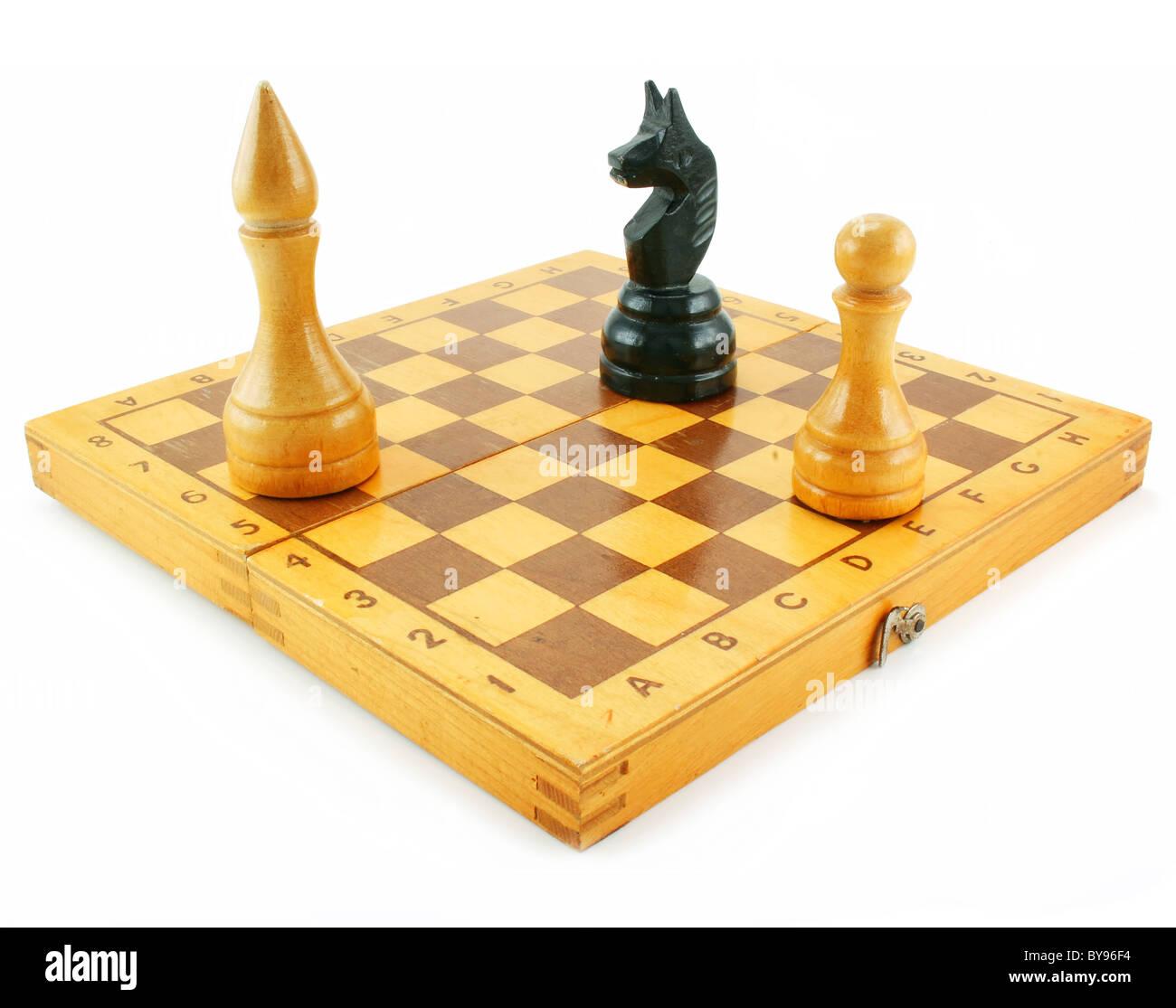 Scacchiera e chessmens Immagini Stock