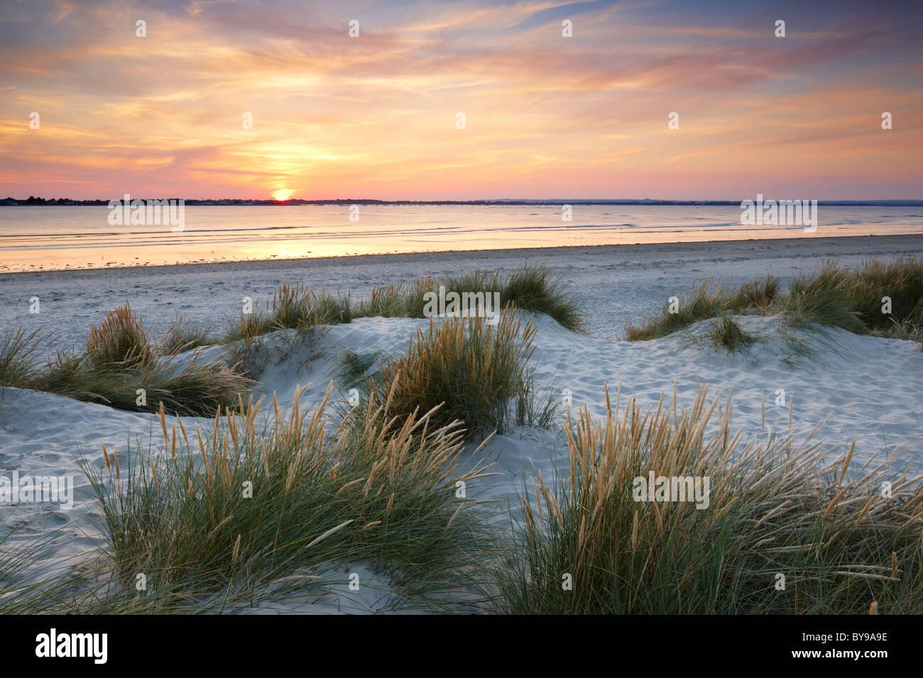 Luce della Sera sulle dune di sabbia ad est di testa. Una spiaggia di sabbia e ciottoli spit situato all'entrata Immagini Stock