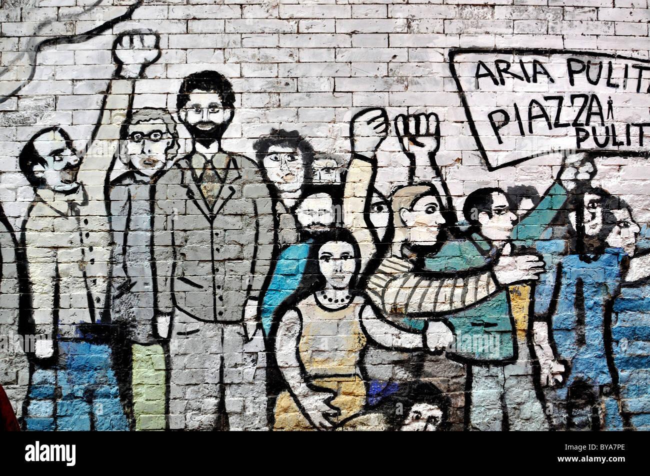 Protesta murale, Roma, Lazio, l'Italia, Europa Immagini Stock