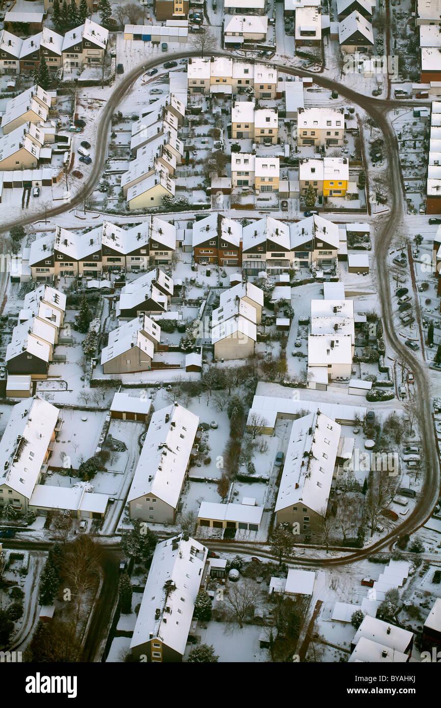 Vista aerea, la mancanza di manutenzione invernale nella zona residenziale, neve, Am Schichtmeister, Annen, Witten, Foto Stock