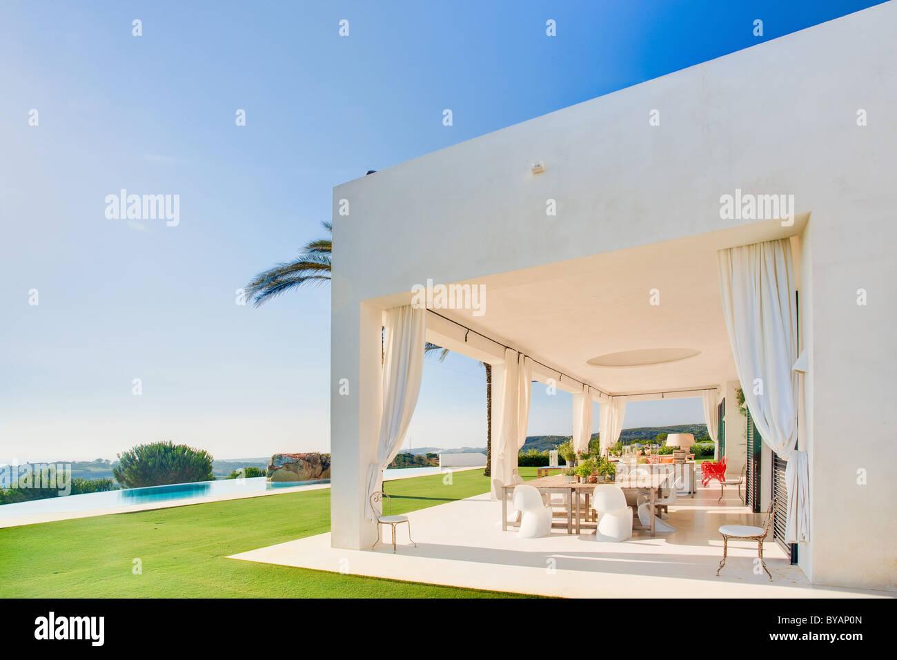 Bella terrazza di Villa di lusso, Spagna Immagini Stock