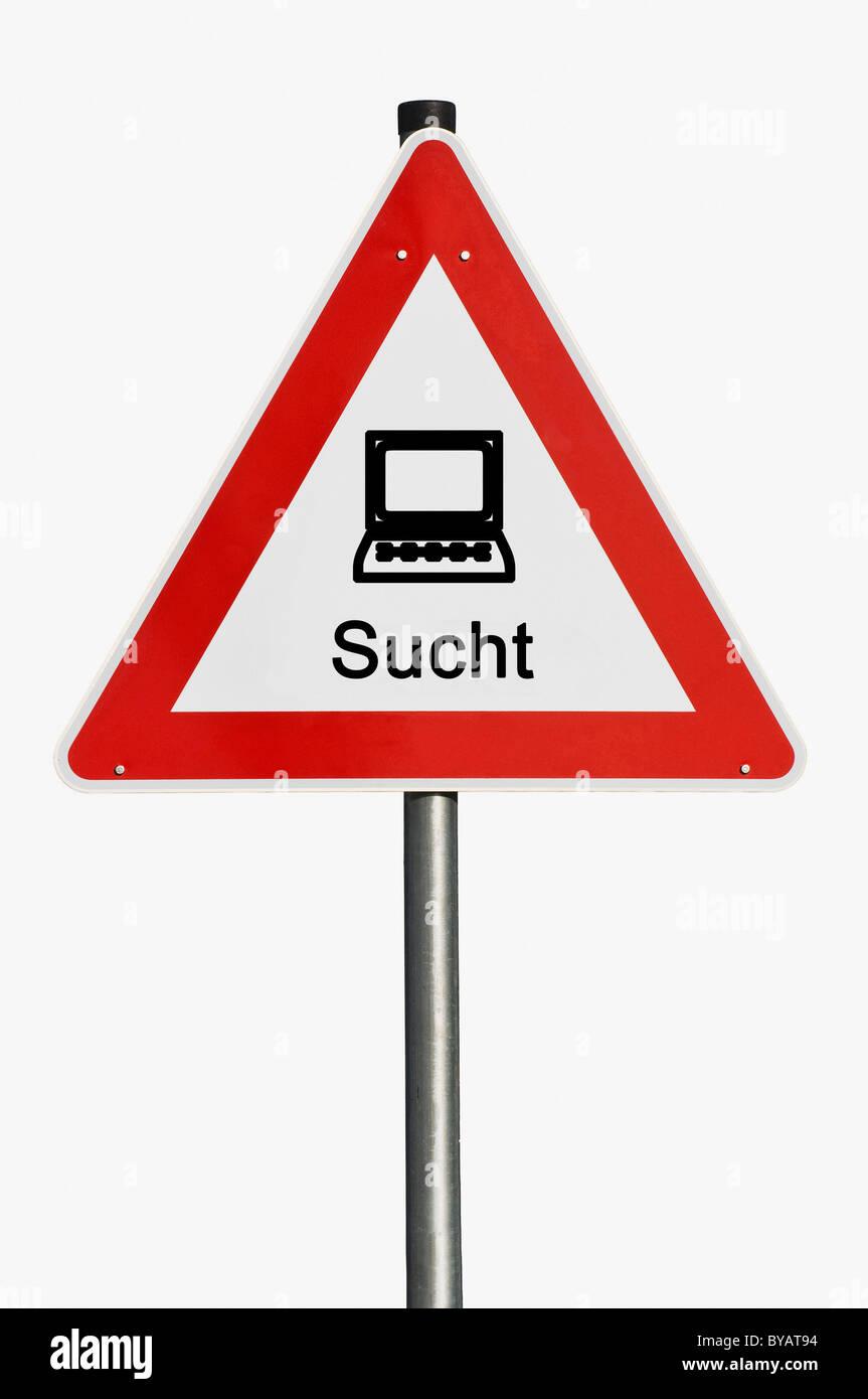 Segnaletica di pericolo con un computer portatile, computer, tossicodipendenza Immagini Stock