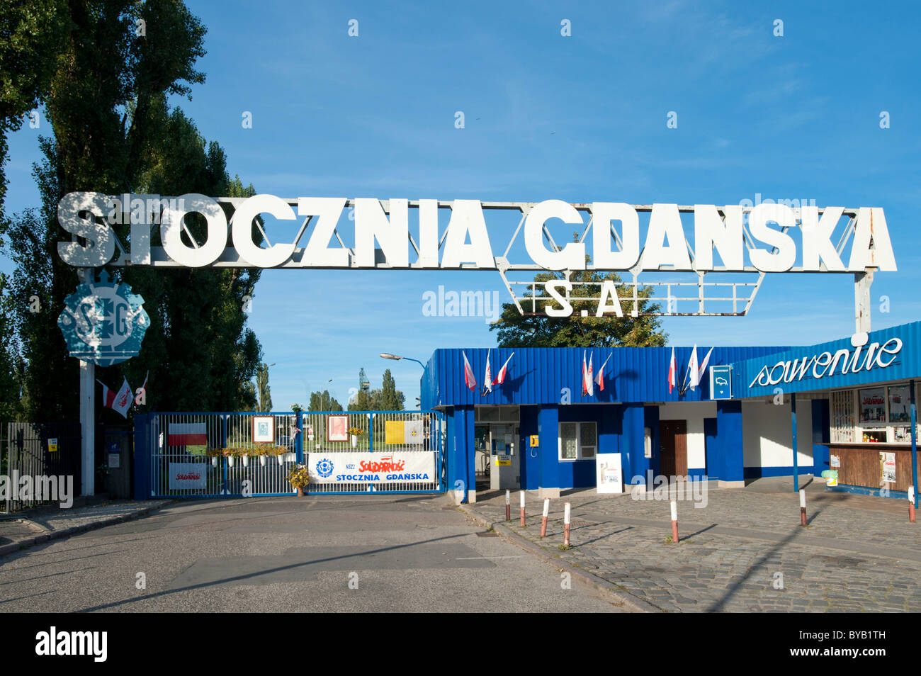 Cantiere di Danzica, monumento alla Solidarnosc movimento di solidarietà, Gdansk, Pomerania, Polonia, Europa Immagini Stock