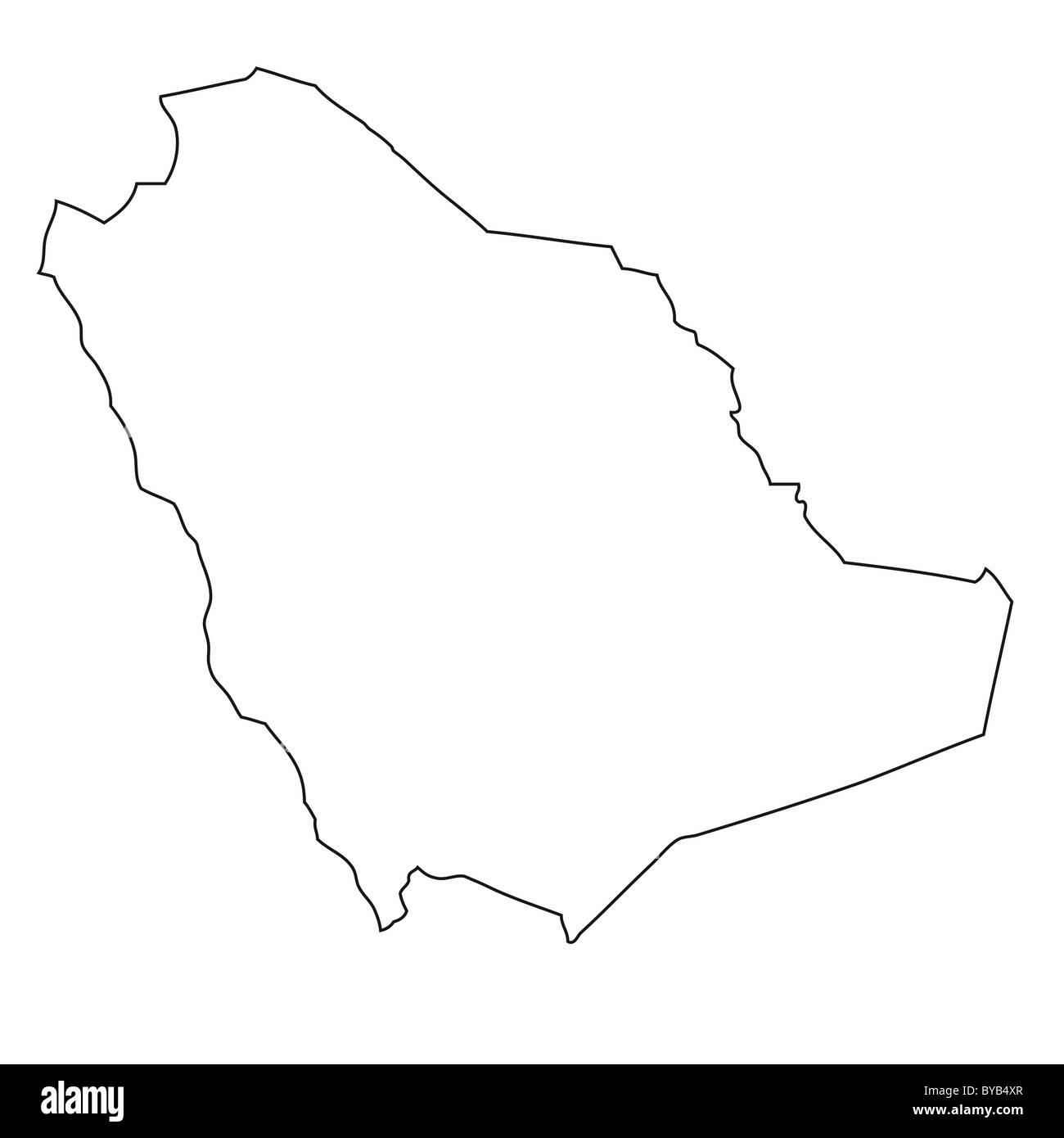 Contorno, mappa di Arabia Saudita Immagini Stock
