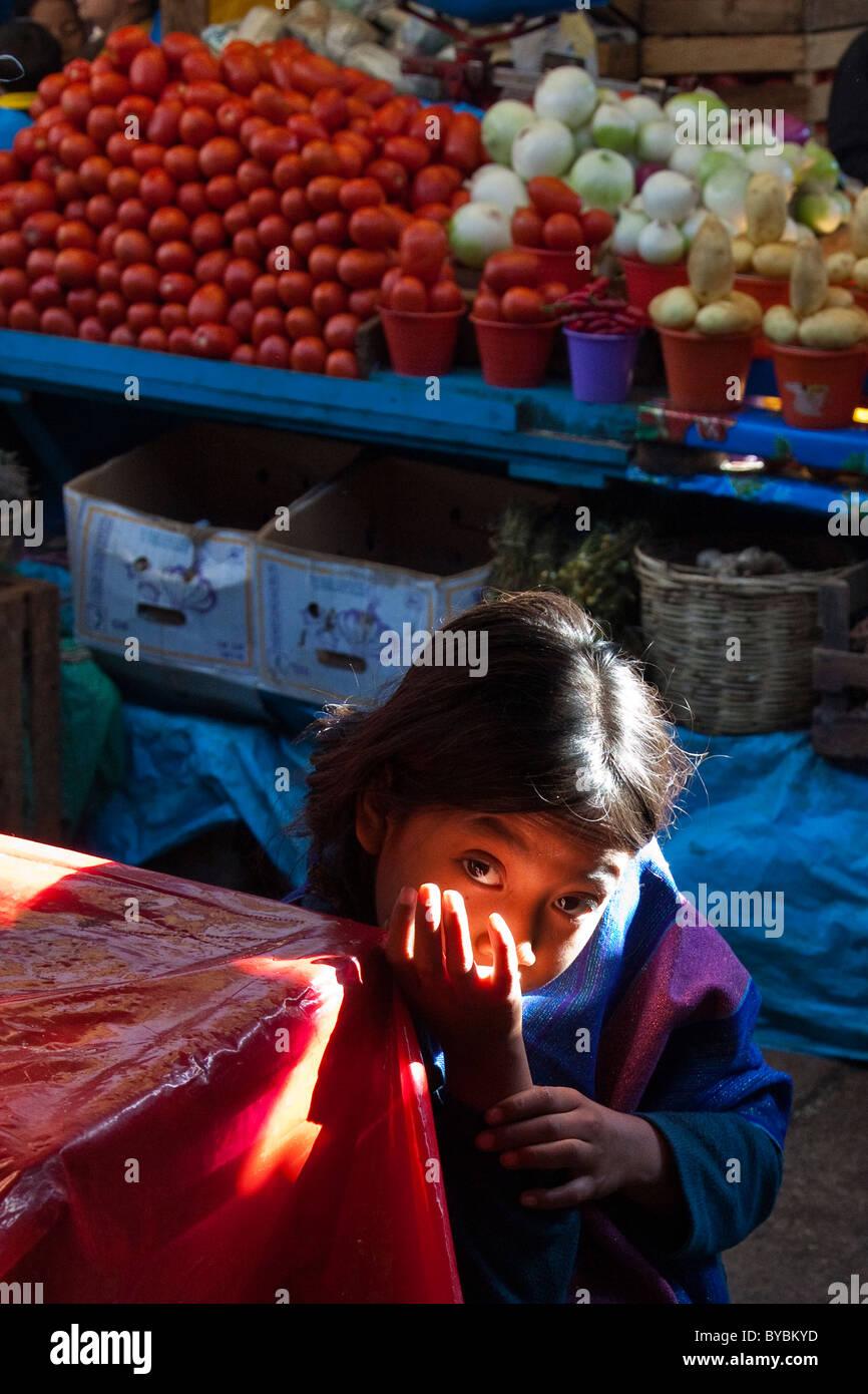 Giovane ragazza in il Mercado Municipal, San Cristobal de las Casas, Chiapas, Messico Immagini Stock