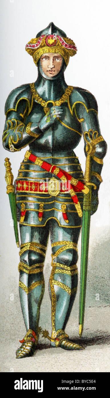 La figura raffigurata qui rappresenta e cavaliere inglese nel 1450 nella corte di Enrico VI. L'illustrazione Immagini Stock