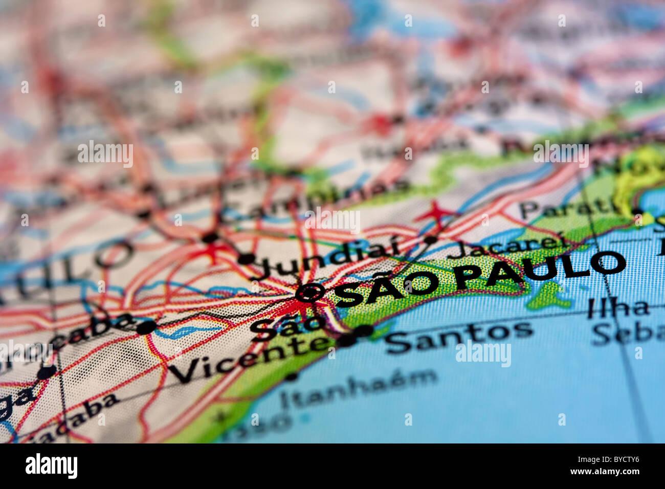 Sao Paulo sulla mappa Immagini Stock