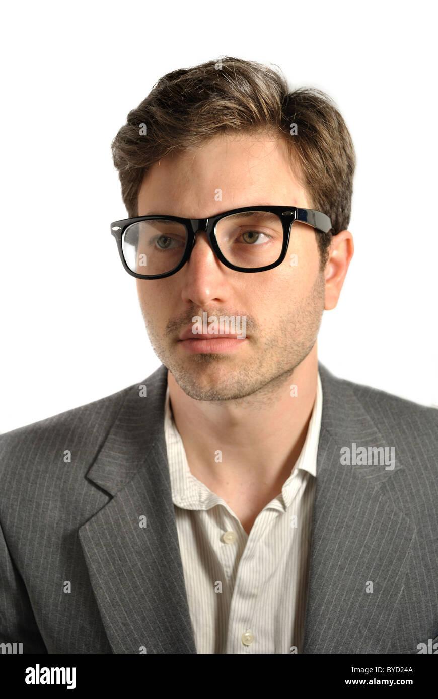 Ritratto di un uomo con gli occhiali. Immagini Stock
