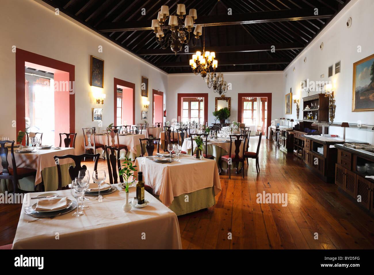 Ristorante in Hotel Parador de Turismo Conde de La Gomera, San Sebatián de La Gomera, isole Canarie, Spagna, Immagini Stock