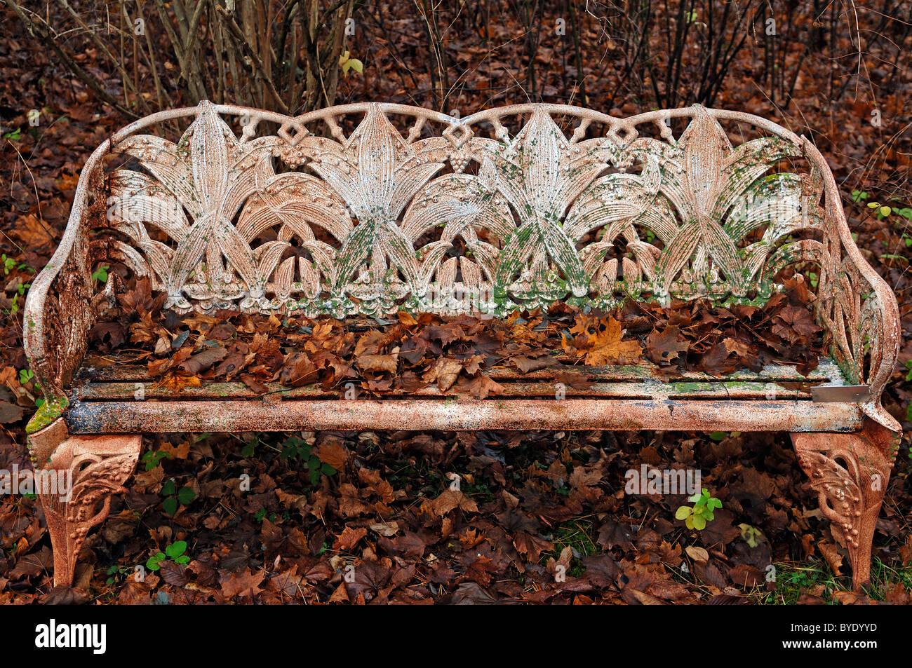 Panchine Da Giardino In Ghisa : Ammenda ghisa panchina da giardino coperto di foglie di autunno