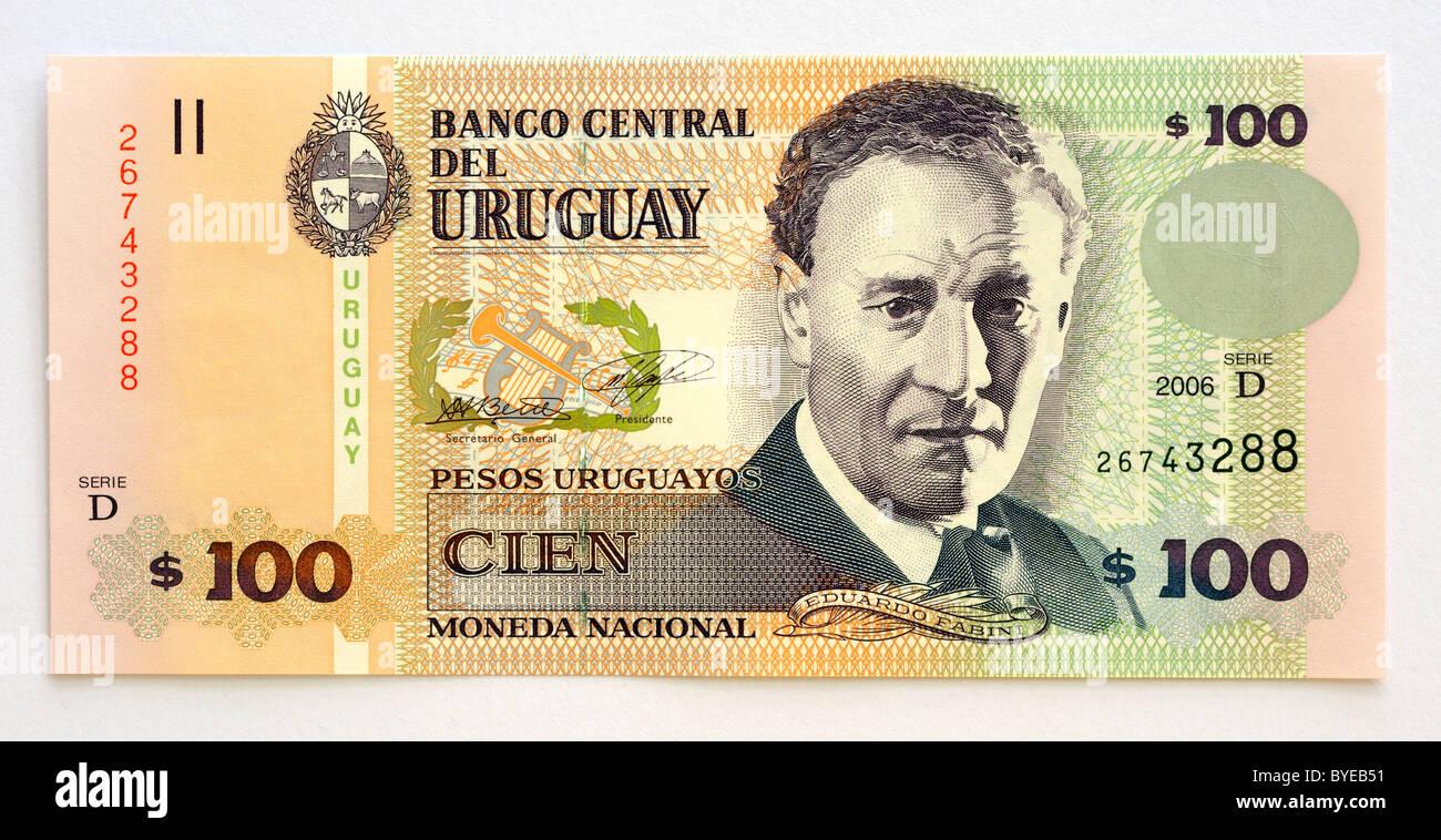 Uruguay 100 un centinaio di Cien pesos nota banca. Immagini Stock