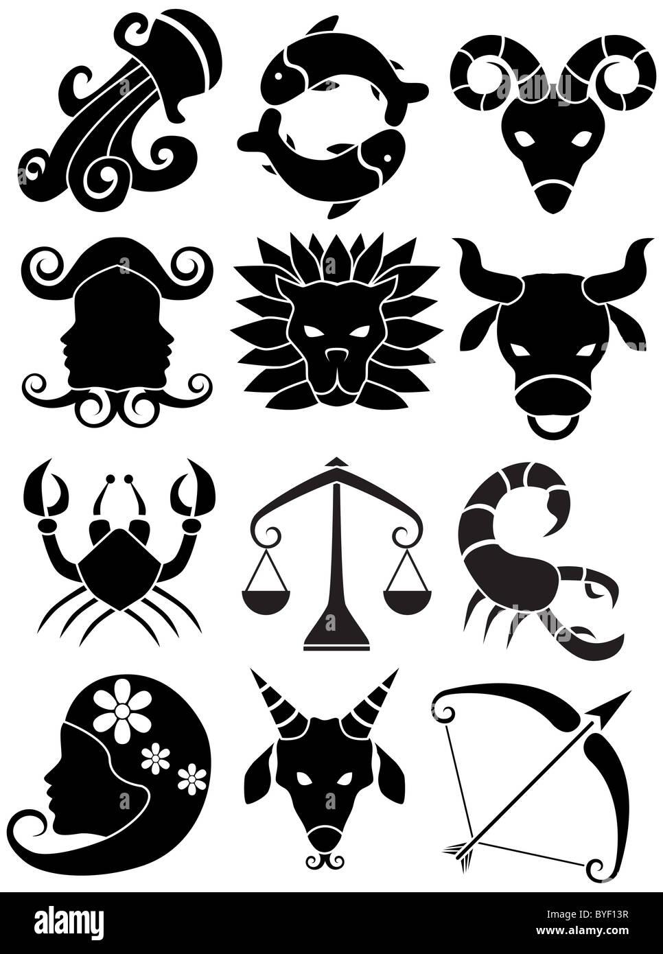 Un'immagine di 12 simboli dello zodiaco. Foto Stock