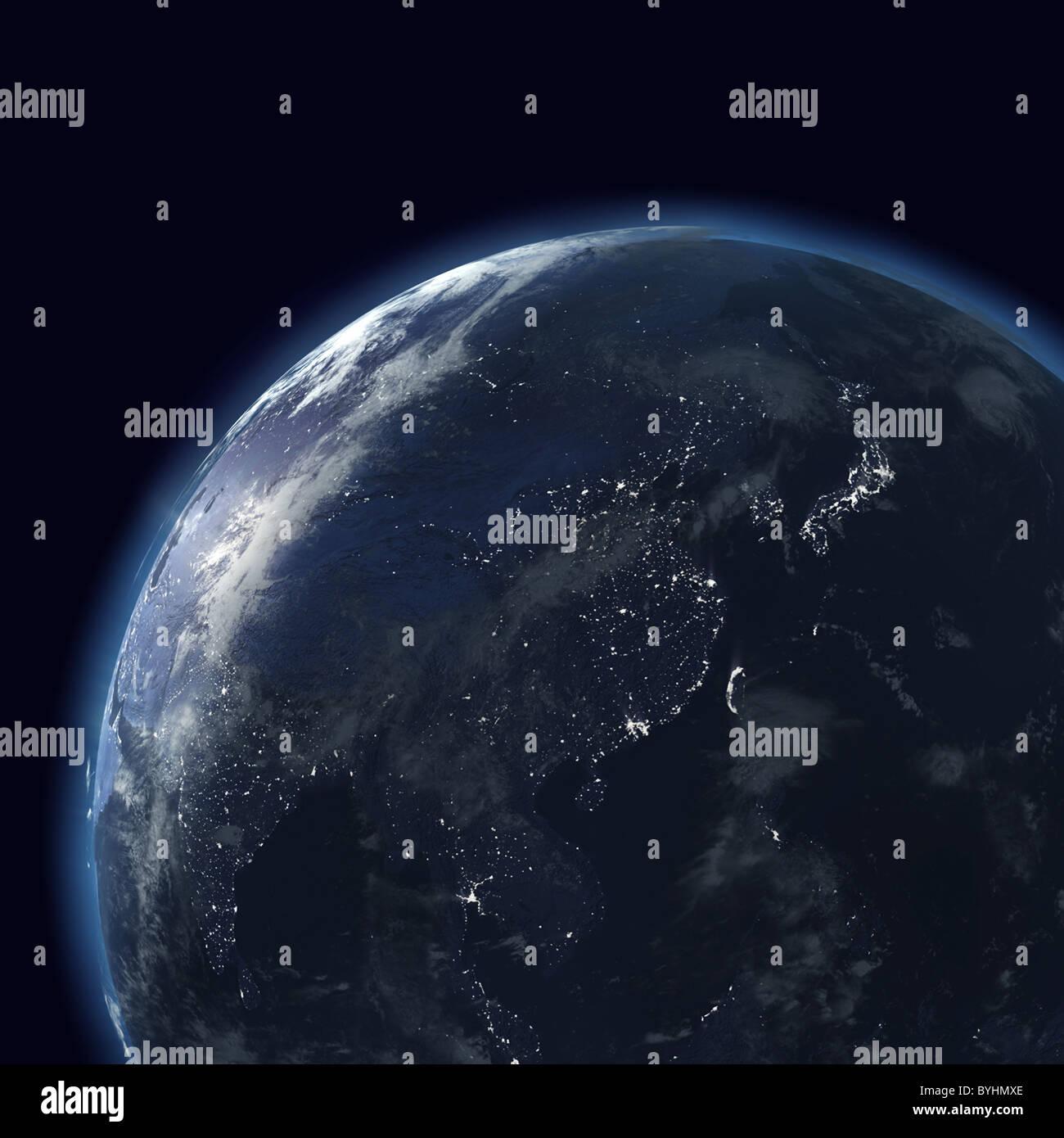 Globo di notte con le luci della città, mappa dettagliata dell'Asia orientale, Giappone, Cina, India, Indonesia Immagini Stock