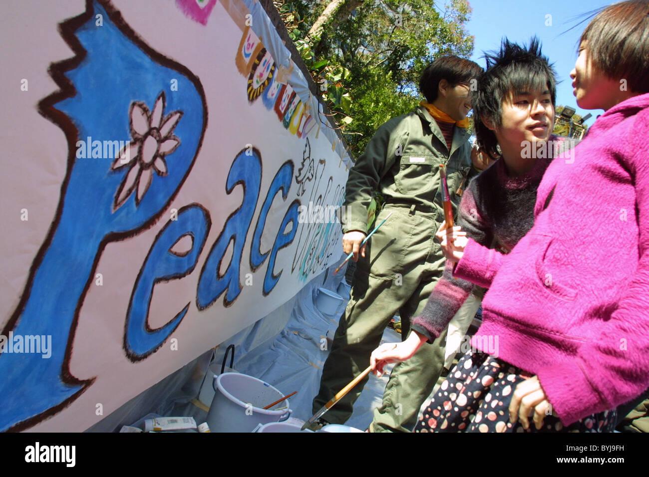 Nessuna guerra e Anti-Iraq dimostrazione di guerra e di pace di protesta, a Tokyo in Giappone il 8 marzo 2003 Immagini Stock