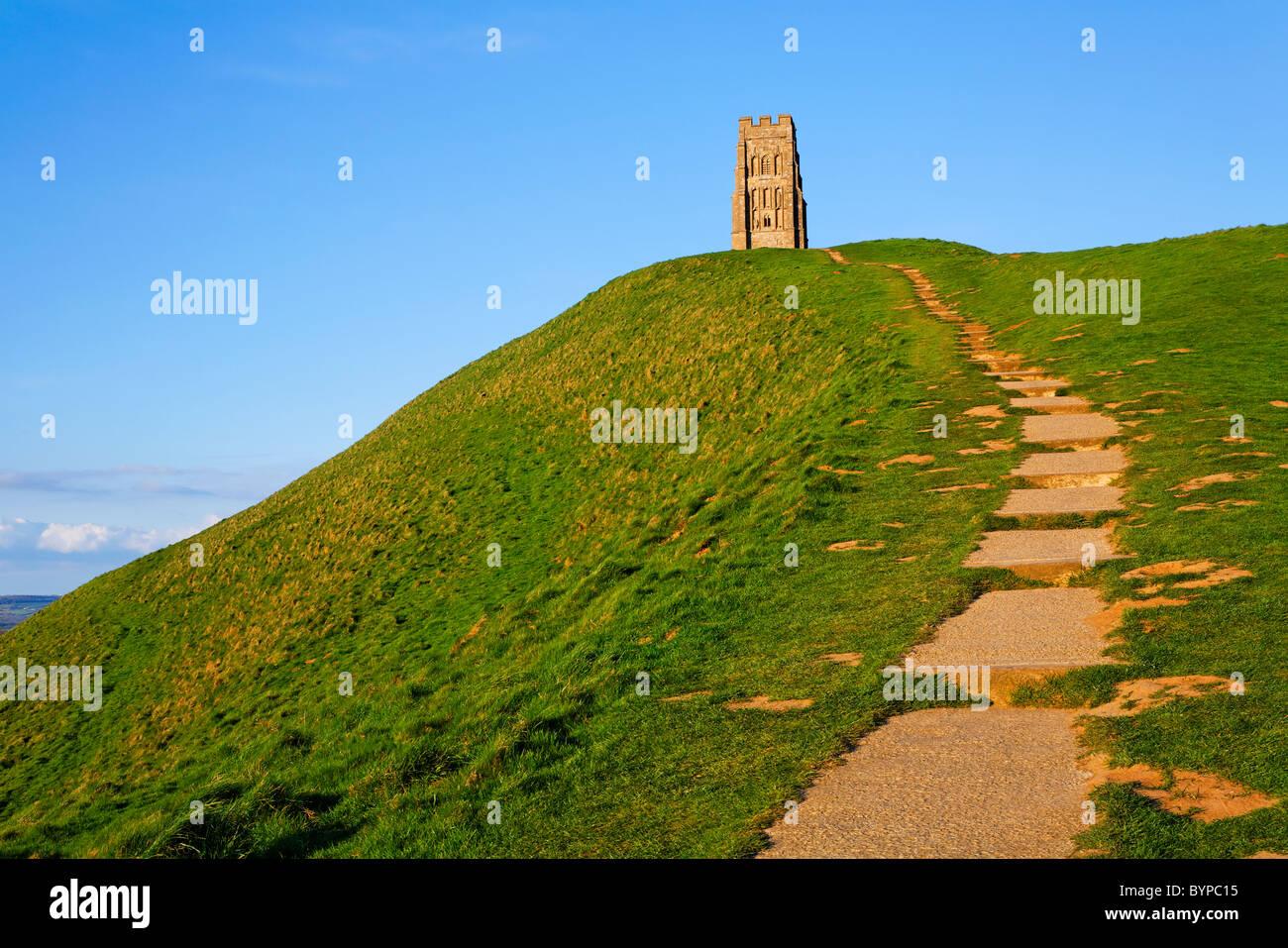 Glastonbury Tor, Glastonbury, Somerset, Inghilterra Immagini Stock