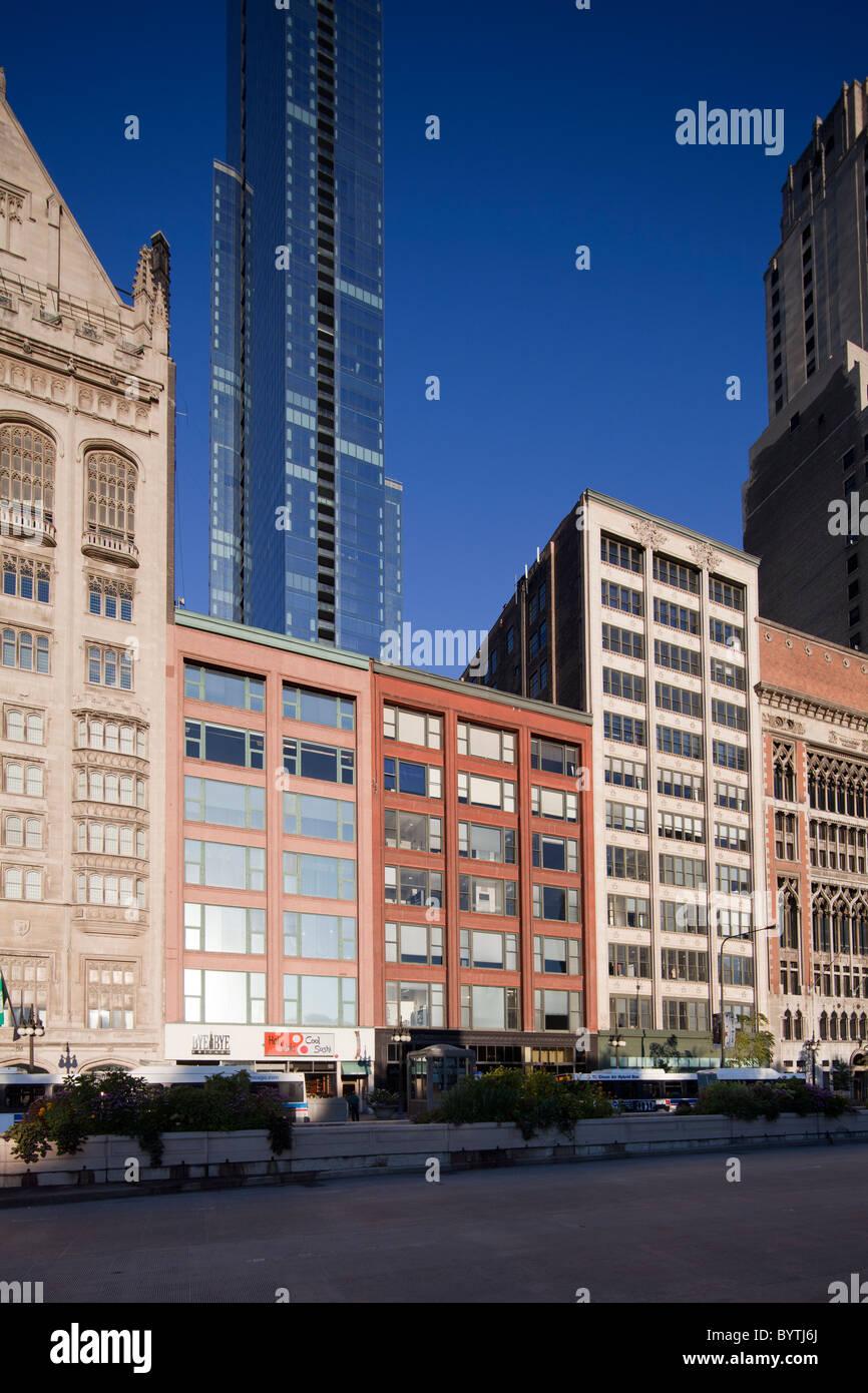 Gage edifici di gruppo, 18, 24 e 30 S. Michigan Avenue, Chicago, Illinois, Stati Uniti d'America Immagini Stock