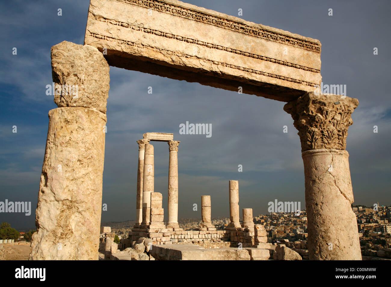Il Tempio di Ercole a Cittadella, Amman, Giordania. Immagini Stock