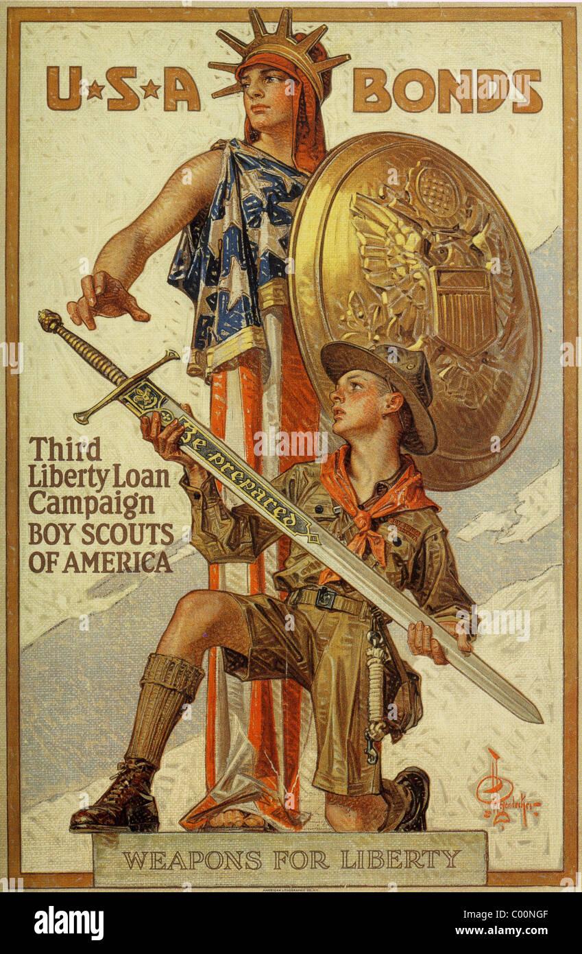 Obbligazioni USA American 1918 legami di guerra poster Foto Stock