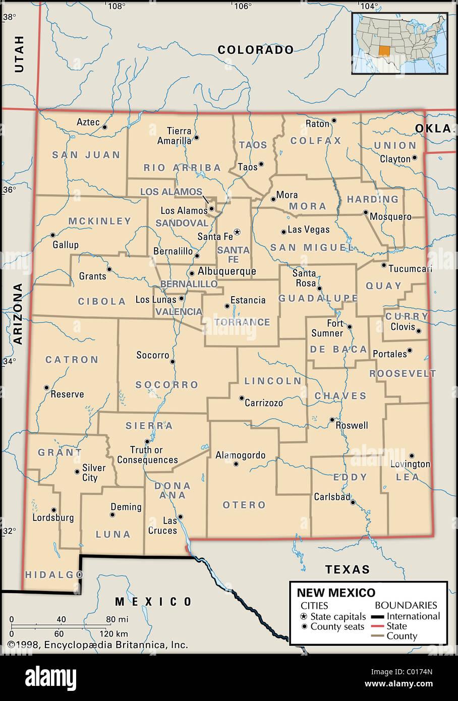 Cartina Geografica Politica Del Messico.Mappa Politica Del Nuovo Messico Foto Stock Alamy