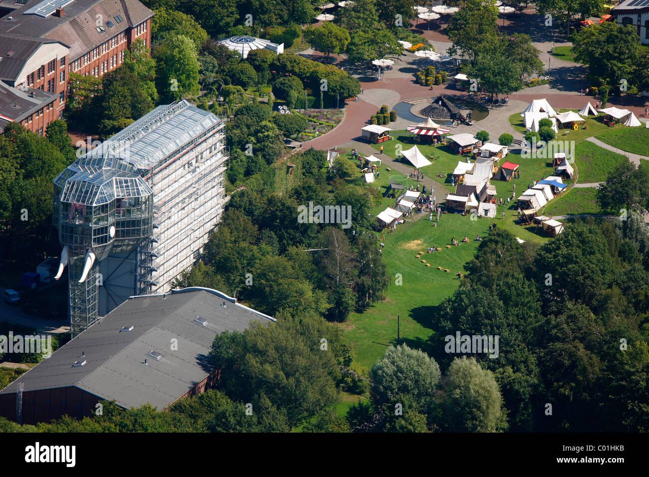 Vista aerea, Maxipark, una zona ricreativa, Zechenkaue, ex miniera di carbone, Hamm, la zona della Ruhr, Renania Immagini Stock