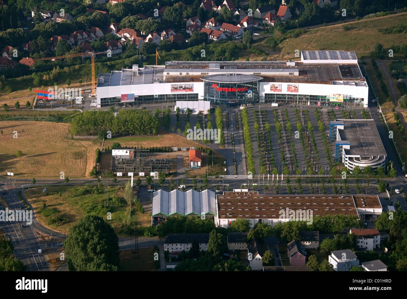 Vista aerea, Ostermann furniture store espansione, Gladbeck, la zona della Ruhr, Renania settentrionale-Vestfalia, Immagini Stock