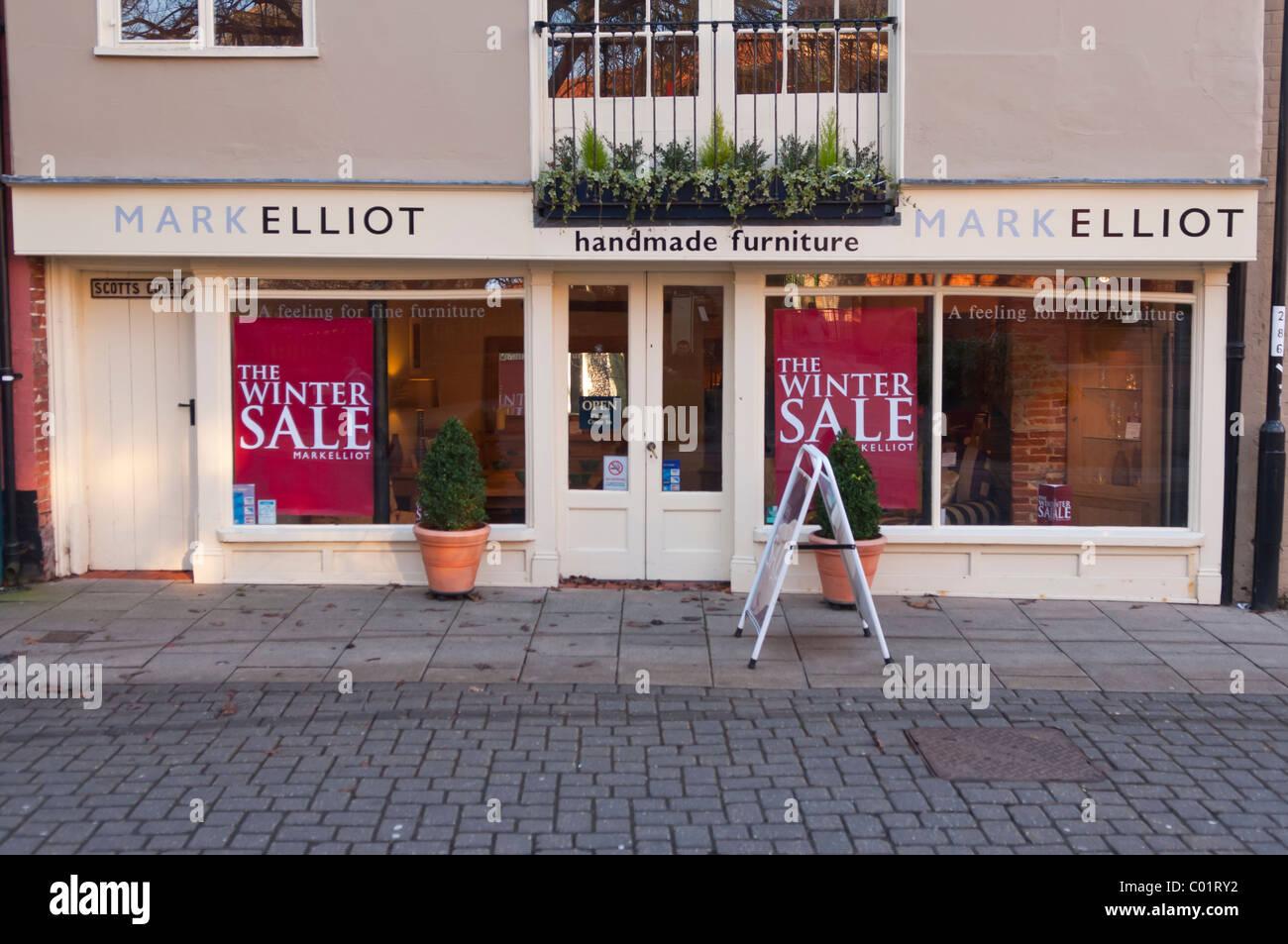 Il marchio Elliot mobili artigianali shop store in Norwich , Norfolk , Inghilterra , Inghilterra , Regno Unito Immagini Stock