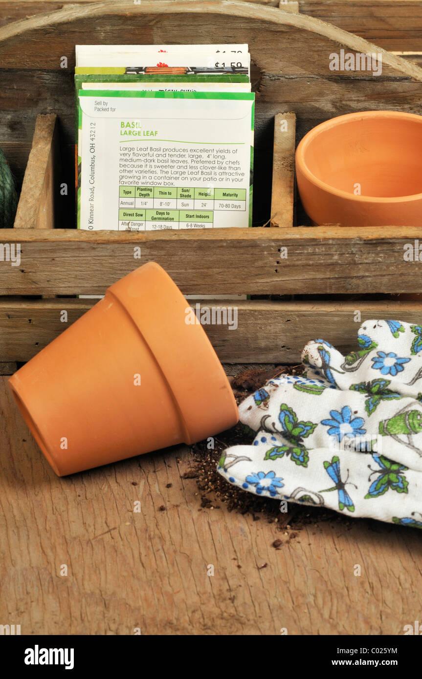 Piantare i semi di ortaggi concept Immagini Stock