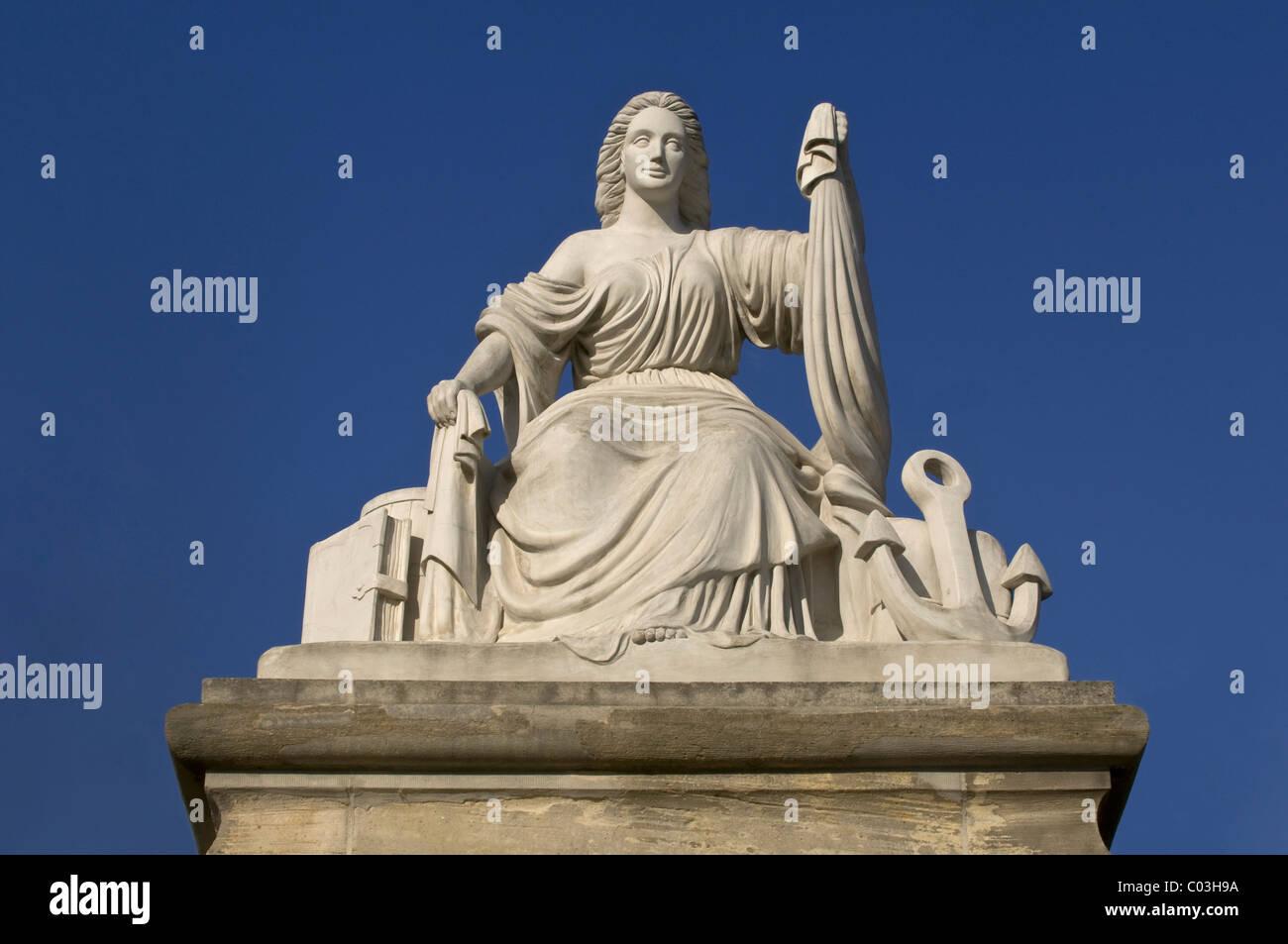Statua per la spedizione e il commercio, la porta del castello di Mainz, Renania-Palatinato, Germania, Europa Immagini Stock