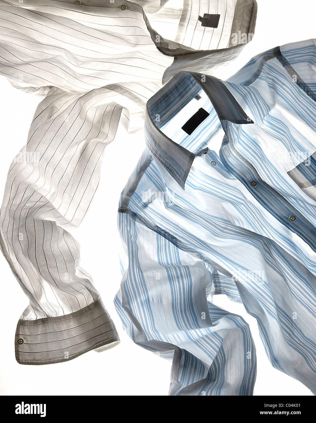 Bianco e blu Camicia a Righe baklite Immagini Stock