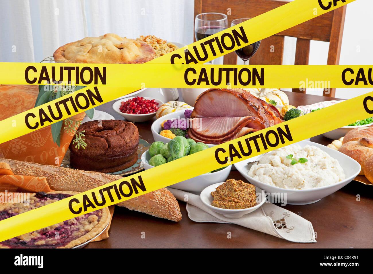 Nastro di avvertenza di blocchi di una festa di cibo e grande pasto per le vacanze Immagini Stock