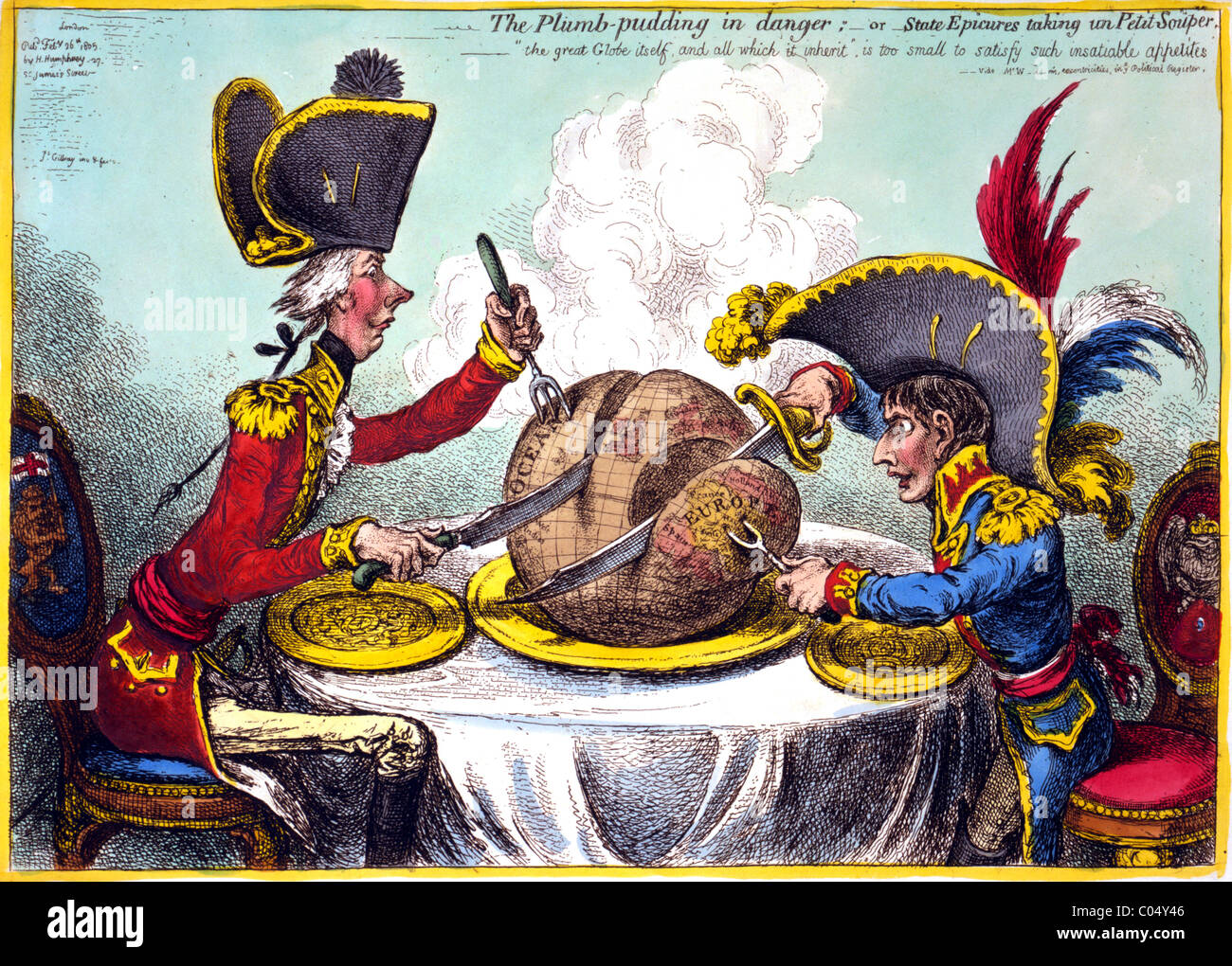 William Pitt e Napoleone raffigurato in una vignetta satirica. Immagini Stock
